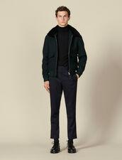 Chevron wool aviator jacket : Jackets color Dark green