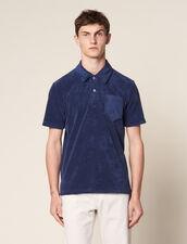 Terrycloth Polo Shirt : T-shirts & Polos color Navy Blue