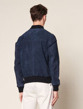 Suede Zipped Jacket : Jackets color Navy Blue