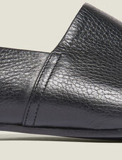 Grained Leather Slippers : Shoes color Black