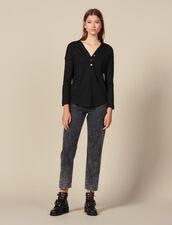 Long-Sleeved Linen T-Shirt : Tops & Shirts color Black