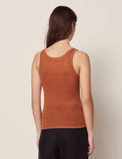 Fine Ribbed Knit Top : Sweaters color Terracotta