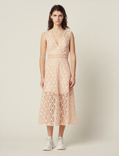 English Guipure Lace Midi Dress : Dresses color Pink