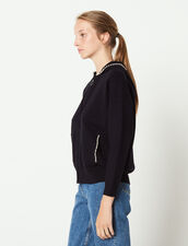 Zip-Up Cardigan Finished With Beads : Sweaters color Deep Navy