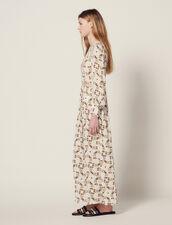 Long Floaty Dress With Butterflies Print : Dresses color Ecru