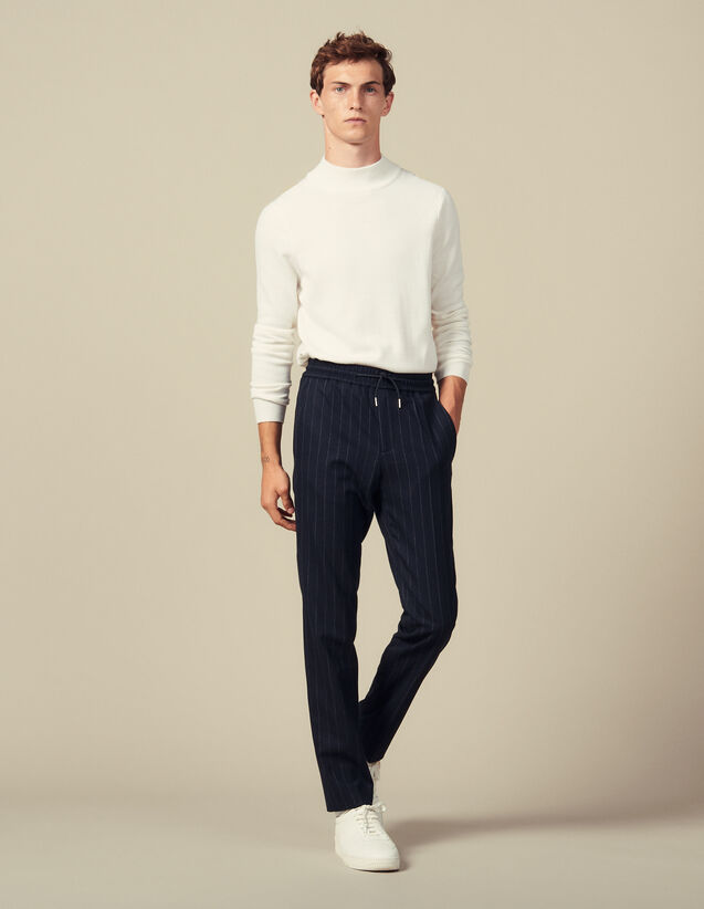 Pinstripe Wool Pants : Pants & Shorts color Navy Blue