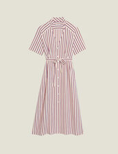 Long Shirt Dress With Narrow Stripes : Dresses color Bordeaux