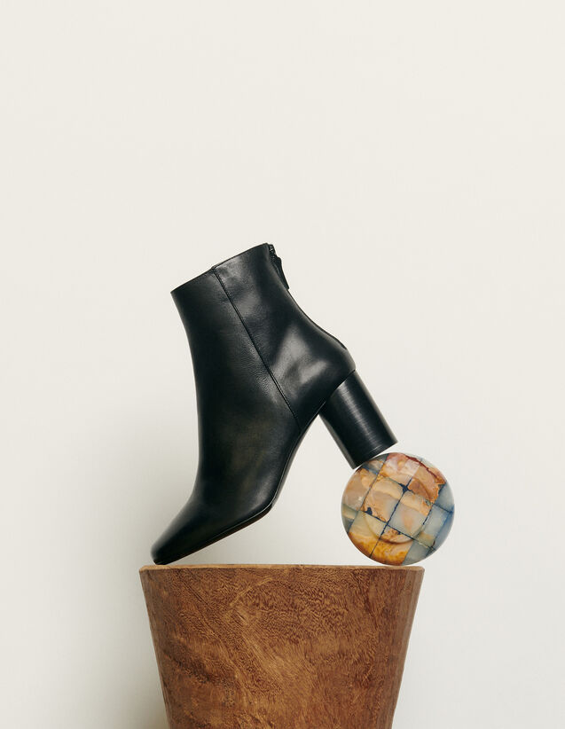 Leather ankle boot : Spring Pre-Collection color Black