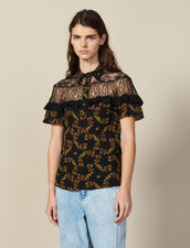 Short-Sleeved Printed Shirt : Tops & Shirts color Black