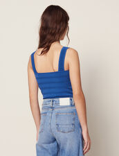 Cropped Knit Top : Sweaters color Blue Jean