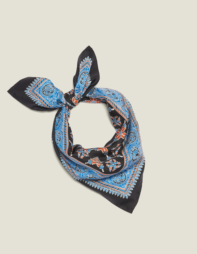 Printed Silk Scarf : Scarves color Blue