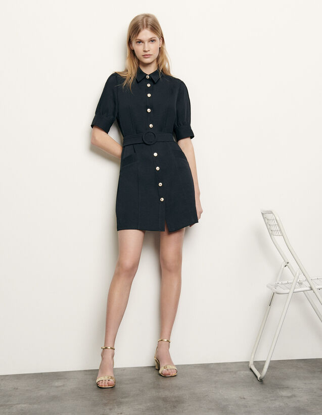 Shirt dress with decorative buttons : Spring Pre-Collection color Navy Blue