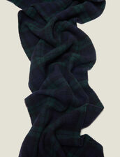 Checked Wool Scarf : Scarves & Gloves color Dark green