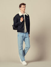 Jacket with faux shearling lining : Jackets color Navy Blue