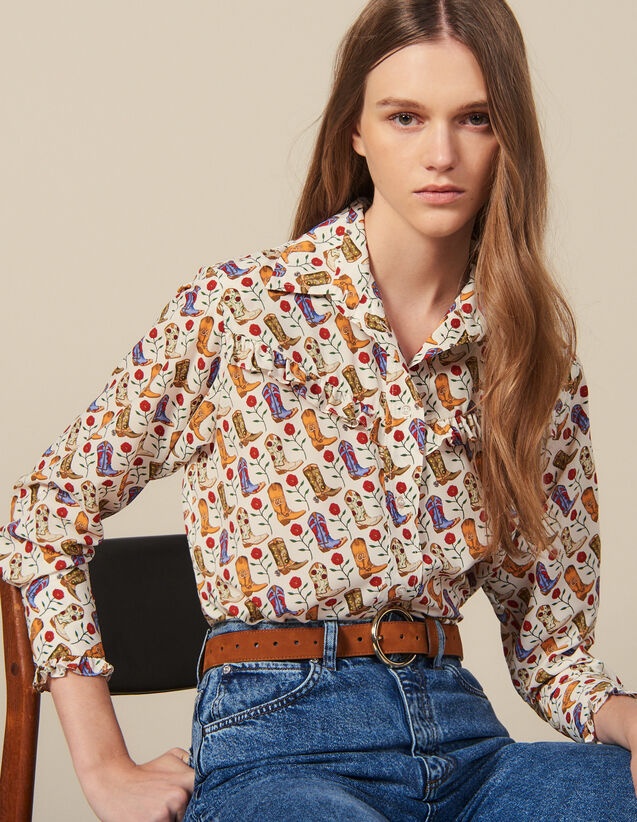 Printed Ruffled Shirt : Tops & Shirts color Ecru