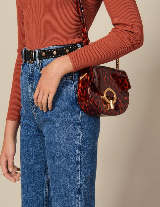 Pépita Patent Leather Bag, Small Model : Bags color Orange leopard