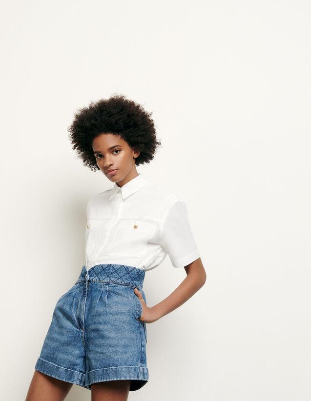Denim shorts with quilted belt : Pants & Shorts color Blue Vintage - Denim