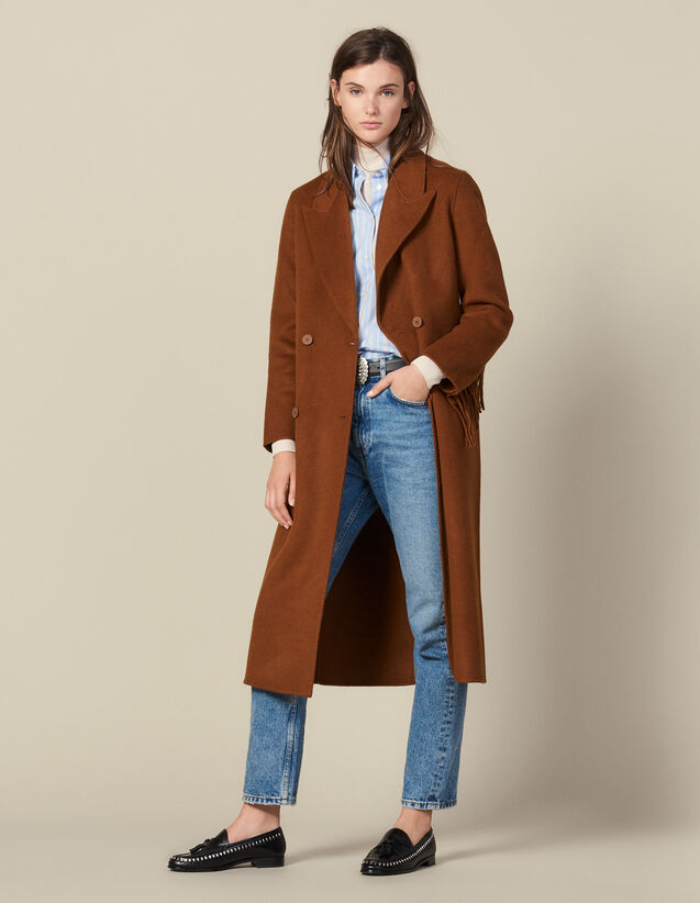 Long Fringed Coat In Double Faced Wool : Coats color Light Brown