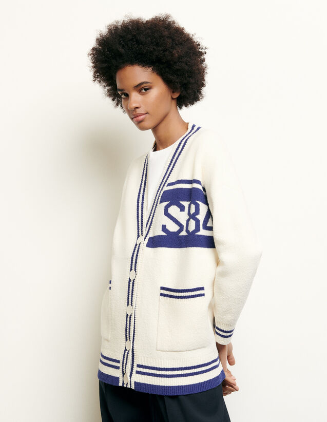 Oversized striped cardigan : Spring Pre-Collection color Ecru
