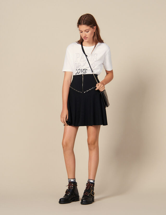 Flared Knit Skirt With Zip : New Collection color Black