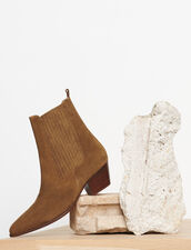 Leather ankle boots with elastic : Shoes color Olive Green
