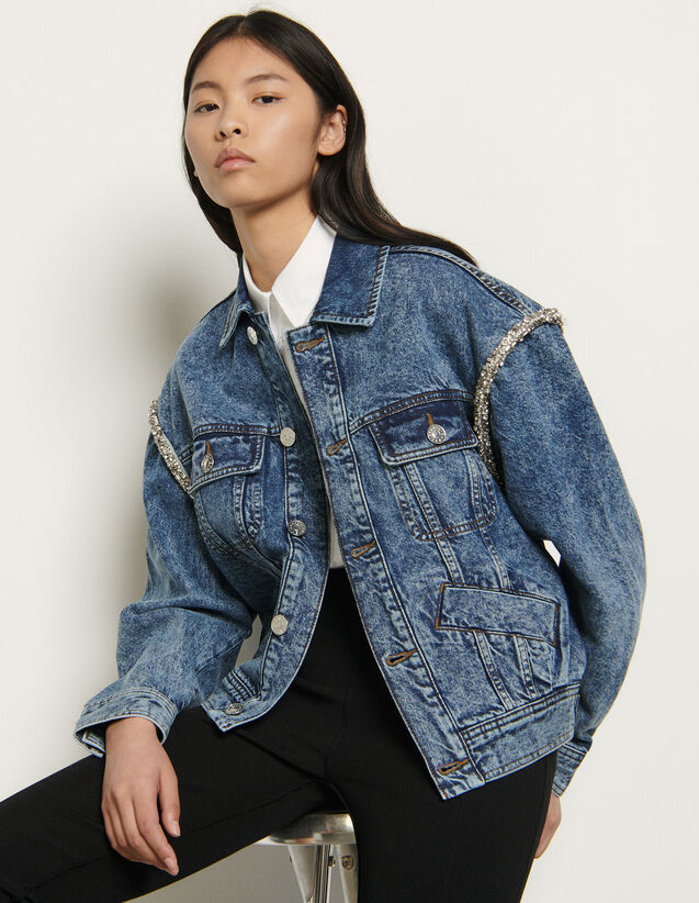 Denim jacket finished with rhinestones : Spring Pre-Collection color Blue Jean