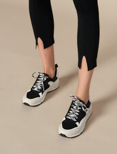 Knit leggings with small slits : Pants & Shorts color Black