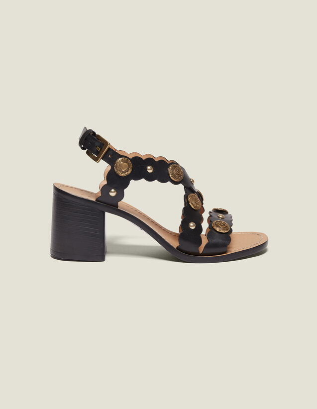 Heeled Sandals With Rivet Details : Shoes color Black