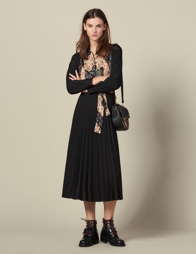 Long Pleated Dress : Dresses color Black