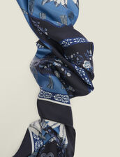 Printed Silk Scarf : Other Accessories color Blue Jean