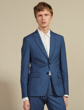 Wool Suit Jacket : Suits & Blazers color Bluish Grey