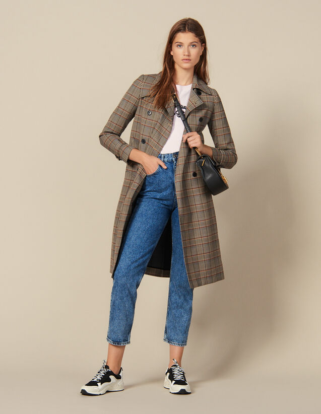 Checked Trench Coat : Coats color Multi-Color
