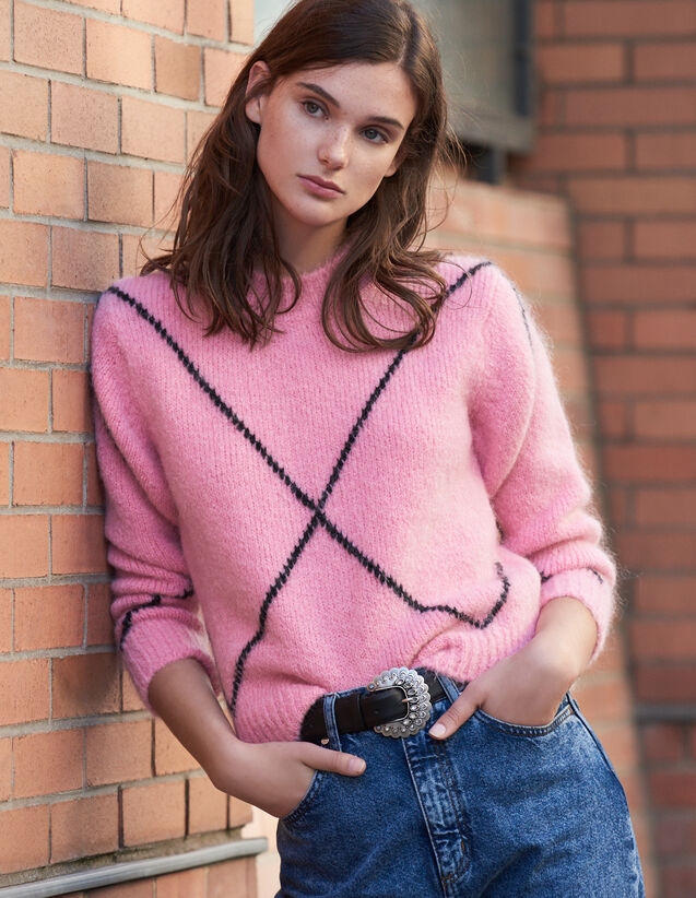 Mohair jacquard sweater : Sweaters & Cardigans color Pink