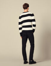 Striped knitted sweater with beads : Sweaters & Cardigans color Ecru/Black