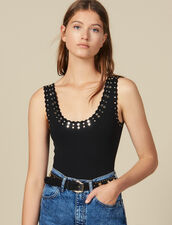 Knitted Bodysuit Trimmed With Studs : Sweaters & Cardigans color Black
