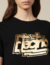 Cotton T-Shirt With Lettering : Tops & Shirts color Black