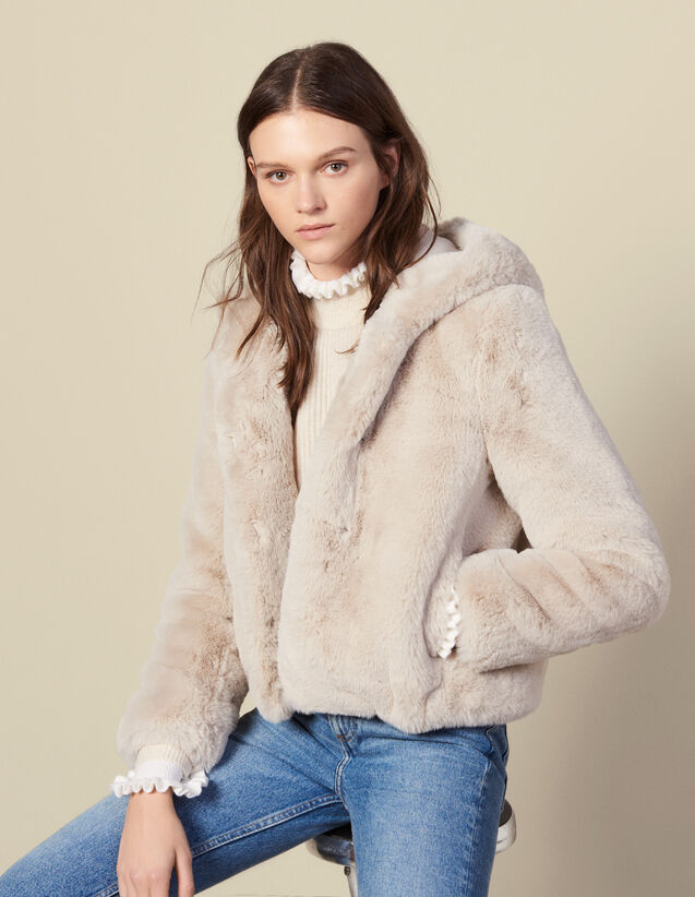 Short Faux Fur Coat : Coats color Ecru