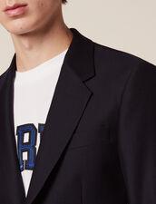 Basketweave Wool Suit Jacket : Suits & Blazers color Navy Blue