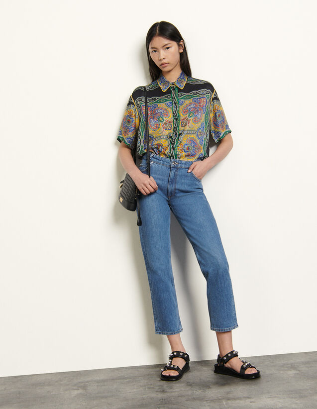 Stretch jeans with 5 pockets : Spring Pre-Collection color Bleached - Denim