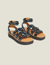 Wedge Sandals With Beading : Shoes color Black