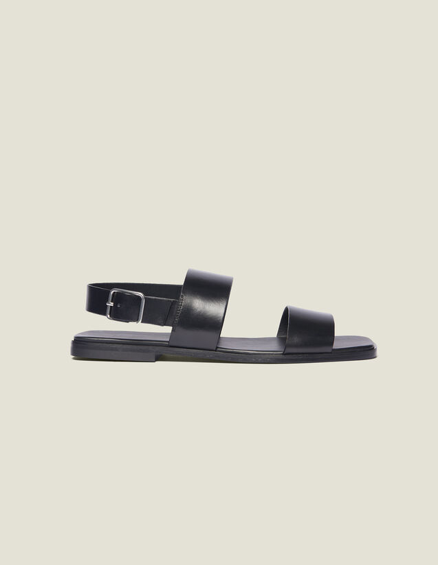Leather Sandal : Shoes color Black