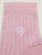 Embroidered Cotton Socks : Sale color Rose pastel