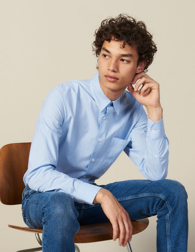 Striped Shirt With Breast Pocket : New Collection color Blue/white