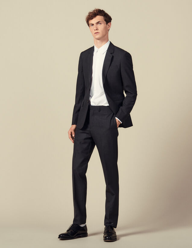 Topstitched suit pants : Suits & Blazers color Charcoal Grey