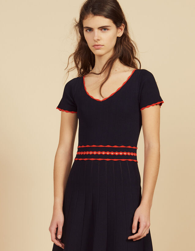 Short Knit Dress With Pleats : Dresses color Navy Blue