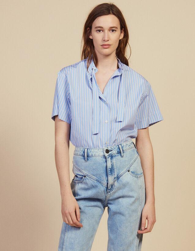 Short-Sleeved Poplin Shirt : Tops & Shirts color Blue
