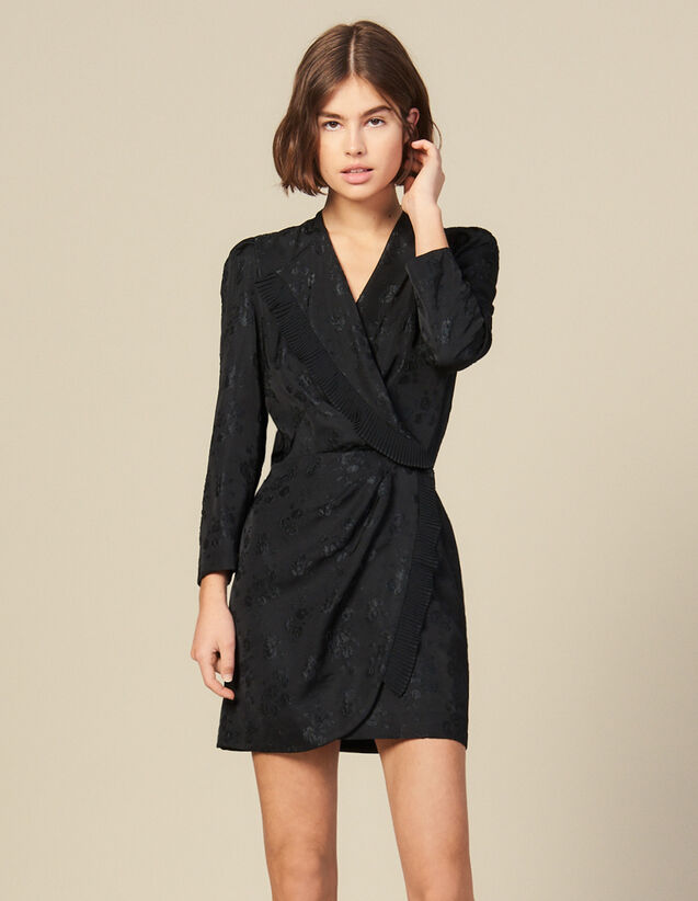 Jacquard short wraparound dress : Dresses color Black