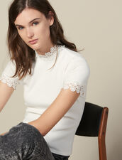 T-Shirt Trimmed With Guipure Lace : Tops & Shirts color Ecru