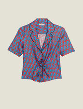 Printed silk pajama shirt : Tops & Shirts color Blue