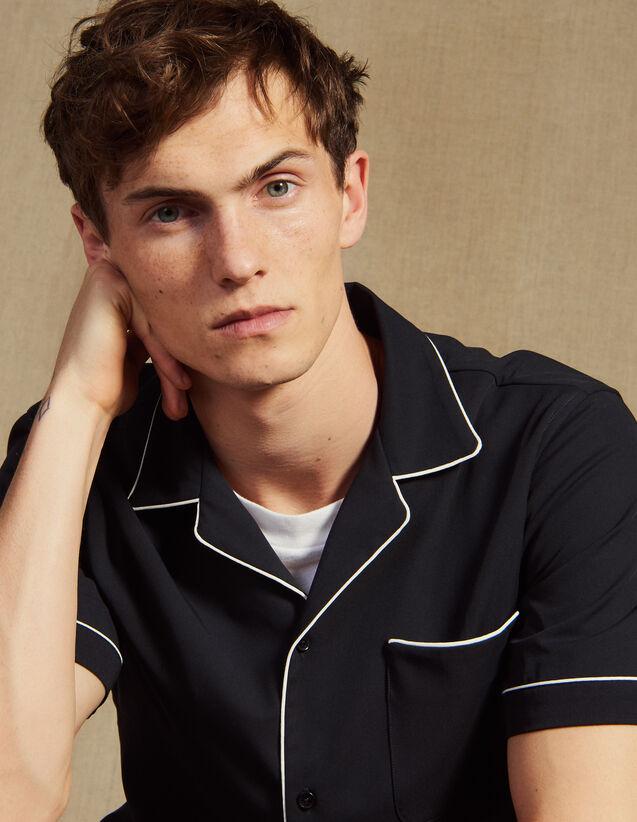 Asymmetrical Pajama-Style Shirt : Shirts color Navy Blue